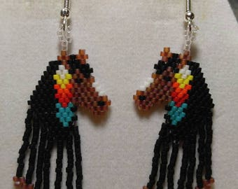 Native American Beaded Style Indian Pony Earring in Turquoise, Red, White Tan and Black Southwestern, Boho Gypsy, Peyote, Loom Brick Stitch