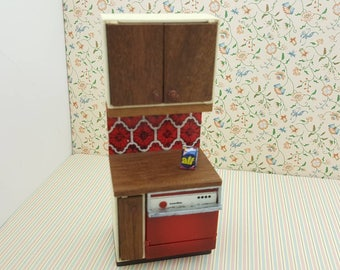 Lundby Dishwasher and Wood Counter  made in England Barton  Doll Furniture Kitchen Red  MCM