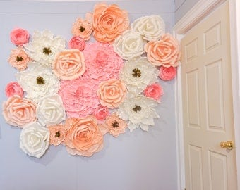 Giant Crepe Flower Wall 30 Oversized Flowers for Backdrop Decor SPECIAL PRICE