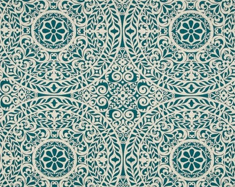 "Two  96"" x 50""  Custom Curtain Panels -  Large  Floral Medallion - Teal/Natural"