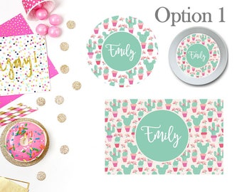 Cactus Plate/Bowl/Placemat . Personalized Plate/Bowl/Placemat . Girls Plate/Bowl/Placemat . Pink Plate/Bowl/Placemat . Custom Plate