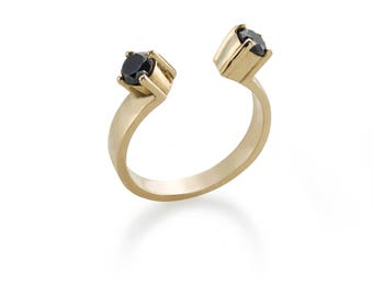 14k Gold Diamonds Ring - Black Diamond Adjustable Gold Ring - Open Black Diamond Solid Gold Ring - Statement Diamonds Ring - Multistone Ring
