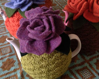 Green and Purple Rose Tea Cozy