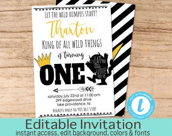 Wild One Birthday Invitation, Wild Thing Invitation, Editable Birthday invite, Boy First Birthday Invitation, Templett, Instant Download