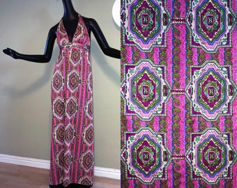 Vintage MOD 1960s 60s Hippie Festival Halter Disco Dress Maxi Dress Pucci Style Scarf Print Slinky Pink Daffy California Size Small Med