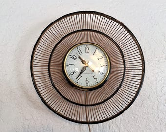 Mid Century General Electric Basket Wall Clock
