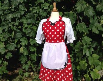 Minnie Mouse Disney Cruise Vacation Costume retro apron red polka dot apron, womens full apron, flirty apron, house warming hostess gift
