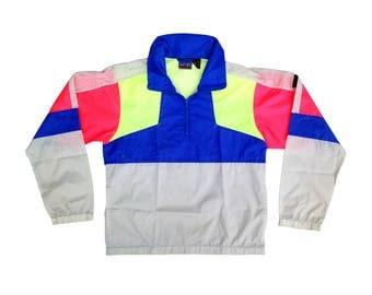 Classic 80s Neon Colorblock Black Ice Water Resistant Windbreaker - M