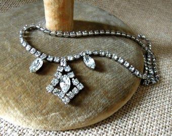 Vintage Rhinestone Necklace / Choker / Pear Rhinestones / Wedding Necklace / Bride's Maid's Necklace