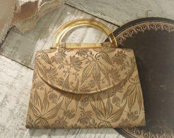 Vintage 1930's Brocade Metallic Fabric Clutch / Handbag / Purse / Clear Amber Lucite Handle / Evening Handbag