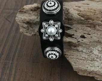 LEATHER SNAP BRACELET,  Black/Pearl Snap + Antique Silver/Black/Rhinestone Snaps (included), Black Leather Snap Bracelet, Adjusts 2 Sizes