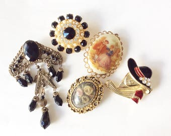 Assorted brooches destash 5 pieces pins different materials and sizes
