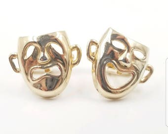 Status Mens Cuff Links Comedy and Tragedy Masks, Gold, One Size