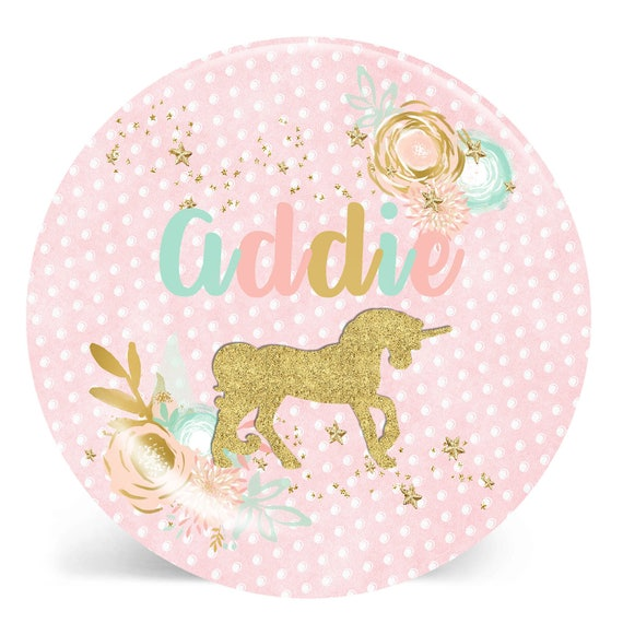 Unicorn Plate, Personalized Plate, Melamine Plate, Personalized Kids Plate, Pink and Gold Plate, Custom Plate, Personalized Gift