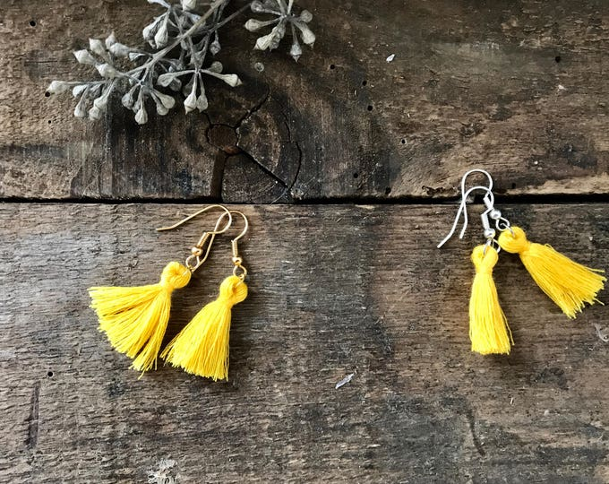 boho tassel earrings, mustard yellow earrings, cotton jewelry, unique bohemian gifts for mother, gifts for girlfriend, fall jewelry trends
