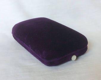 Vintage Purple Velvet Necklace Chain Locket Pendant Drop Dangle Earrings Lever Back Jewelry display MOP Pearl Button Vintage Massachusetts