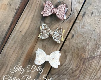 Gold Glitter Ivory and Rose Gold Glitter Bow Set Baby Girl Headbands Itty Bitty Bows Photography Props Newborn Headbands Preemie Headbands