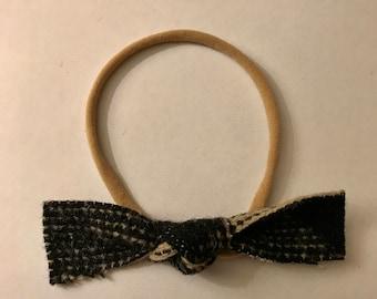 Black and cream Pendelton wool knot headband or hair clip