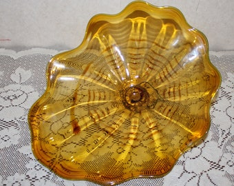 Trevor Thomas Art Glass Amber Wall Plate Accented with Dark Amber