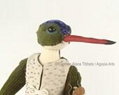 Violet-Crowned Hummingbird Art Doll, OOAK Doll, Folk Art Doll, Spirit Animal, Totem Figure, Forest Animal, Nature Lover Gift