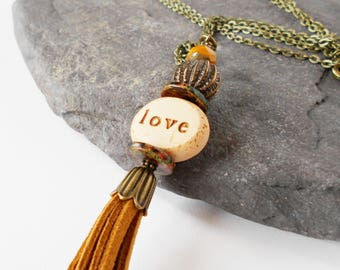 brown long pendant necklace, 'love more' stacked pendant necklace, tan brown tassel necklace, artisan bohemian jewelry, gift for her