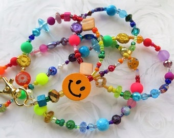 CHEERFUL SMILE- Beaded Id Lanyard Badge Holder- Millefiore, Wood, and Pearl Beads with a Rainbow of Glass Beads (Magnetic Clasp)