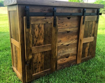 Reclaimed Chestnut Barn Door Console