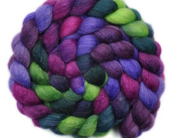 Hand painted roving - Silk / BFL wool 25/75% spinning fiber - 4.0 ounces - Trembling Tears 2