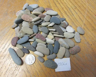 100 Oval and Oblong Beach Stones Stone Craft Supplies, Mixed Media, Stone Sculpture Supplies, Jewelry Making