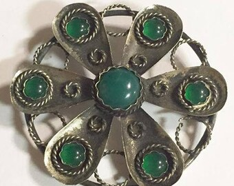 Vintage Sterling Silver with Green Chyrosphrase Stones Brooch Signed AP Made in Italy