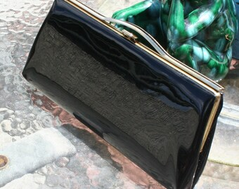 Vintage Purse Black Patent Leather 1950s