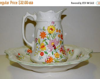 Summer Sale Vintage Porcelain Dish and pitcher, Old Foley, James Kent, Ltd., England, Floral Fantasy