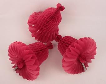 lot of 6 honeycomb bells // scalloped edges // burgundy