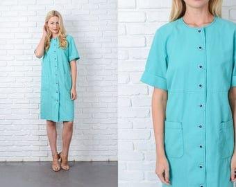 Vintage 70s Mint Shirt Dress Shirt Dress Short Sleeve Shirtdress Medium M 9808