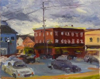 Landscape Oil Painting on Canvas Downtown