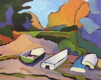 Maine Boats and Light  Large Landscape Oil Painting on Canvas