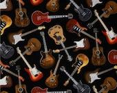 Guitares sur Black à partir de tissus Timeless Treasures