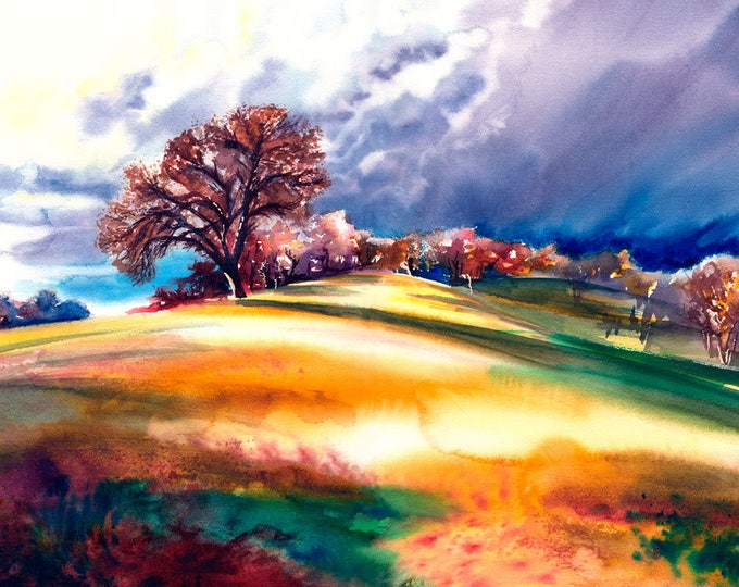 Featured listing image: Stormy Landscape Watercolor Fine Art Print on Paper, Metal, or Canvas
