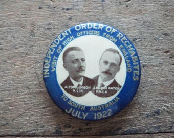 Antique 1922 Religious Independent Order of Rechabites Pinback Button Pin Badge, Unique Christmas Gift For Christian Grandparents