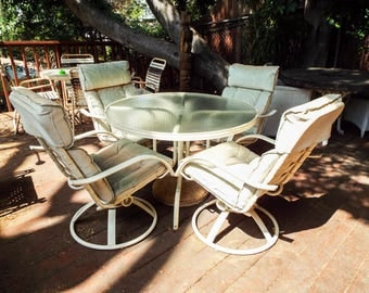 Vintage Homecrest Outdoor Patio Furniture 4 Garden Swivel Chairs U0026 Glass  Table