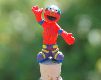 Elmo Wine Bottle Stopper Seasame Street Muppet Rollerblades