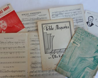 Antique and vintage sheet music lot of 7 Kum By Ya Just a Cottage Small Dance My Trouble Away Longing Petite Mazurka Morceau Sumphonique etc