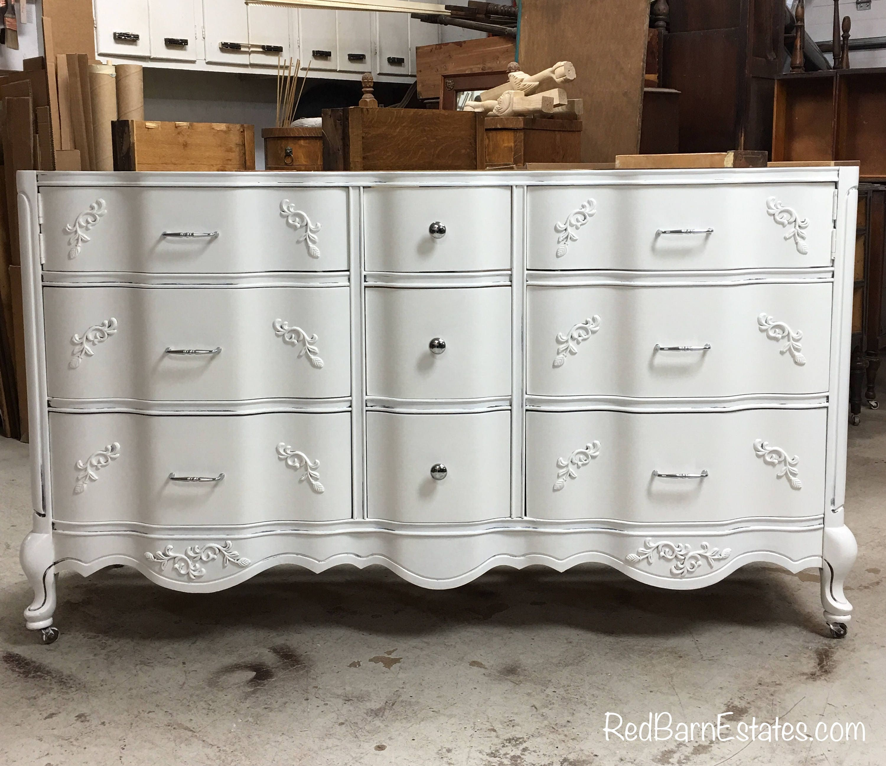 Bathroom vanity cabinet we custom convert from vintage French provincial bathroom vanities