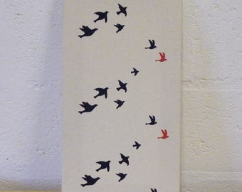 Flock of birds canvas
