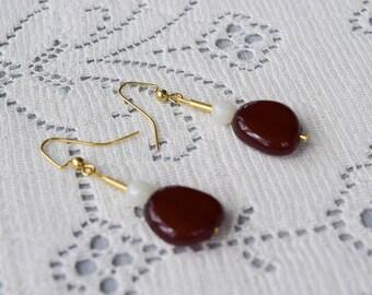 Brown Bead Pierced Earrings, Acrylic Gold Tone Dangles