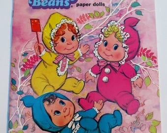 SALE 20% OFF Vintage Itsy Bitsy Beans Paper Doll Book by Whitman, 1970s Collectible Uncut in Excellent Condition