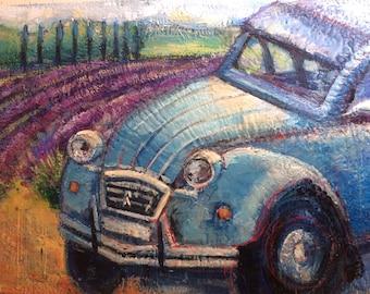 France Provence Lavender Fields French auto Car Deux Chevaux 30x40 Lavande plein air oil painting impressionist expressionist