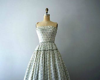 1950s strapless dress . vintage 50s floral print dress