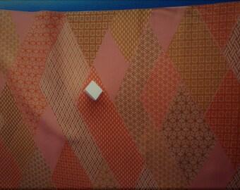 Vintage Japanese silk kimono fabric 92 cm x 36 cm burnt orange patchwork geometrics.