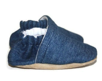 Denim baby shoes jean baby shoes blue baby shoe baby slippers baby booties soft sole baby shoes vegan shoes boy shoes girl shoes
